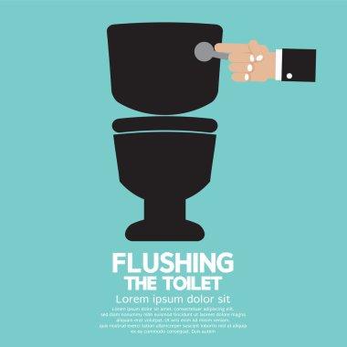 Flushing The Toilet Vector Illustration