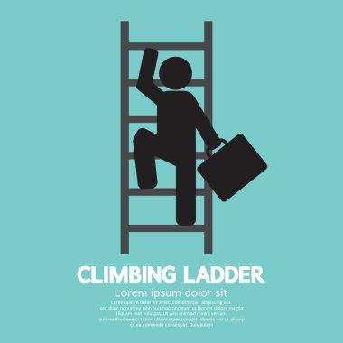 Businessman Climbing Ladder Vector Illustration