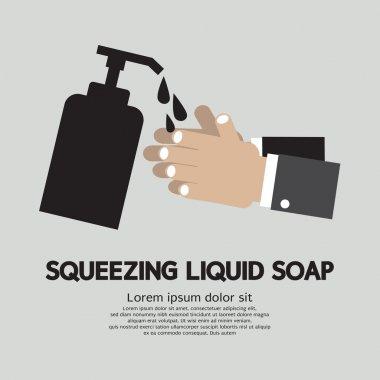 Squeezing Liquid Soap Vector Illustration