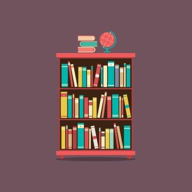 Flat Design Book Cabinet Vector Illustration