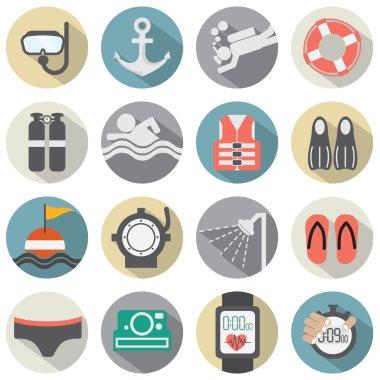 Flat Design Diving Icon Set Vector Illustration