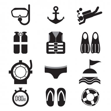 Diving Icon Set Vector Illustration