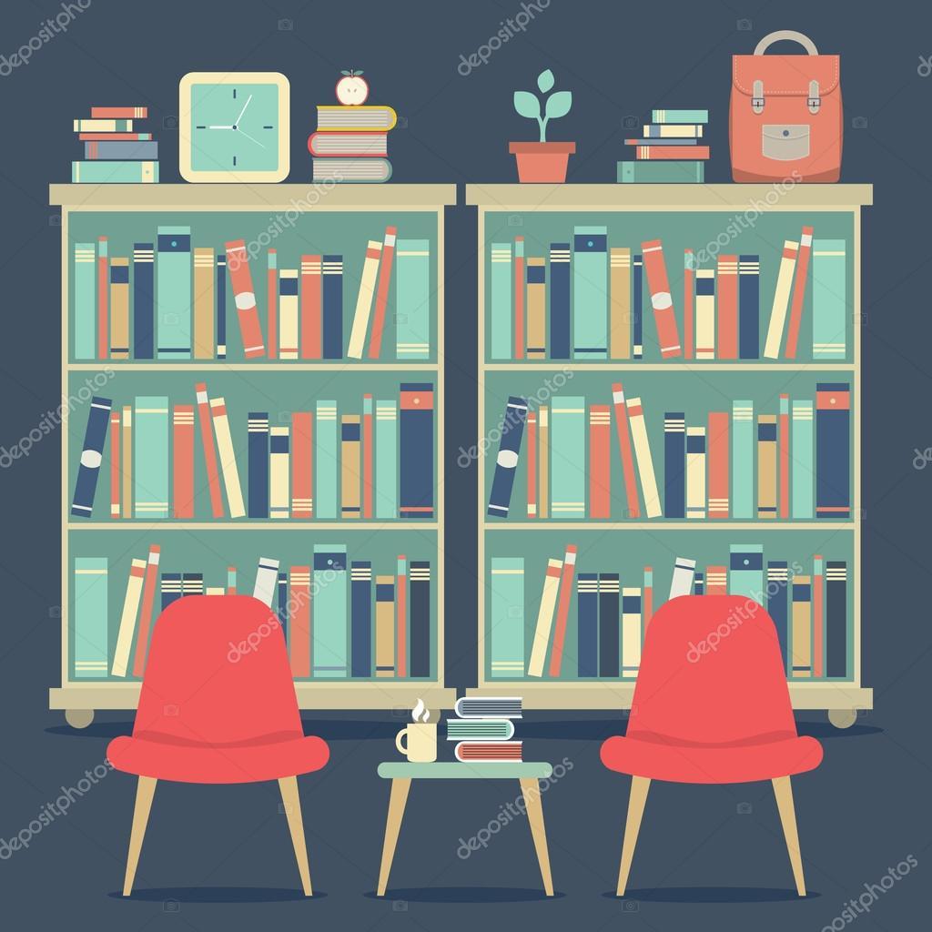 Modern Design Interior Chairs And Bookshelf Stock Vector