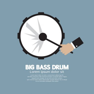 Big Bass Drum Music Instrument Vector Illustration