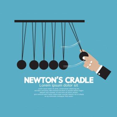 Flat Design Newton's Cradle Vector Illustration