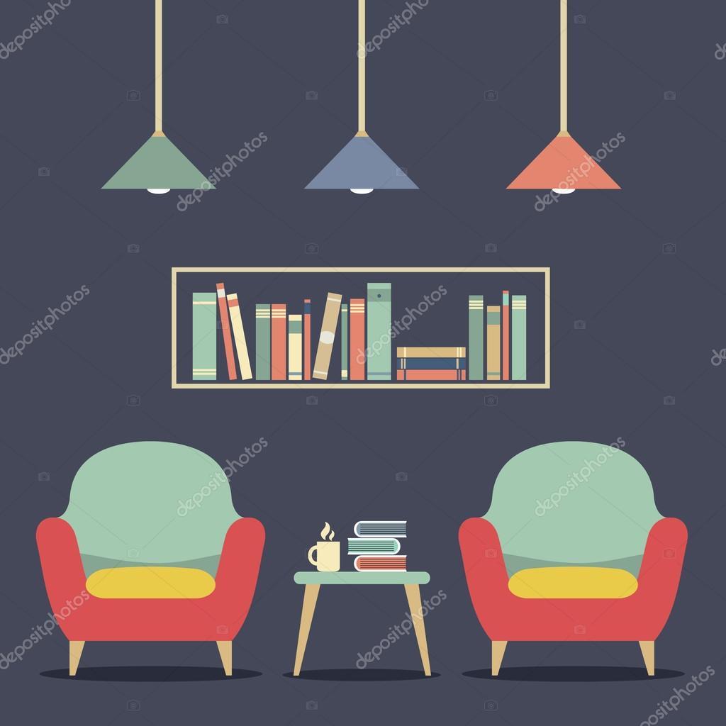Modernes Design Interior Stuhle Und Bucherregal Stockvektor