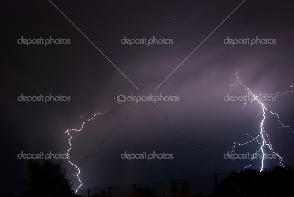 Twin cloud to ground strikes during thunderstorm at night