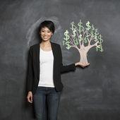 Photo Asian woman and chalk money tree drawing on blackboard.