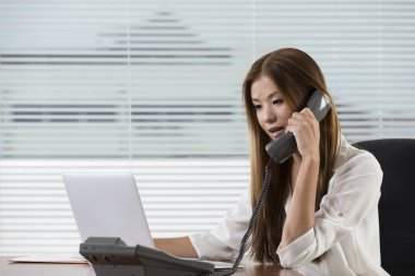 Young Asian woman at work in an office.