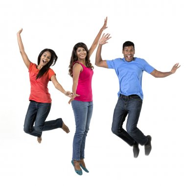 Excited group of Indian men and women jumping for joy. Isolated on white background. stock vector