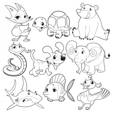 Set of animals in black and white