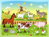 hospodářská zvířata s pozadím