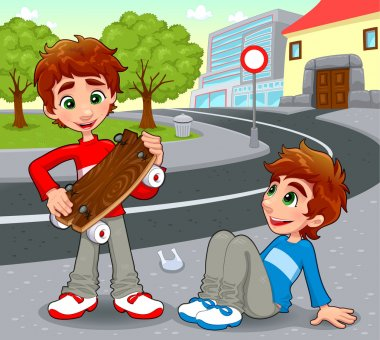 Twins with an homemade skateboard.