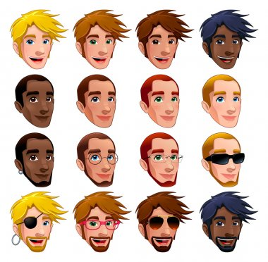 Male faces, vector isolated characters.