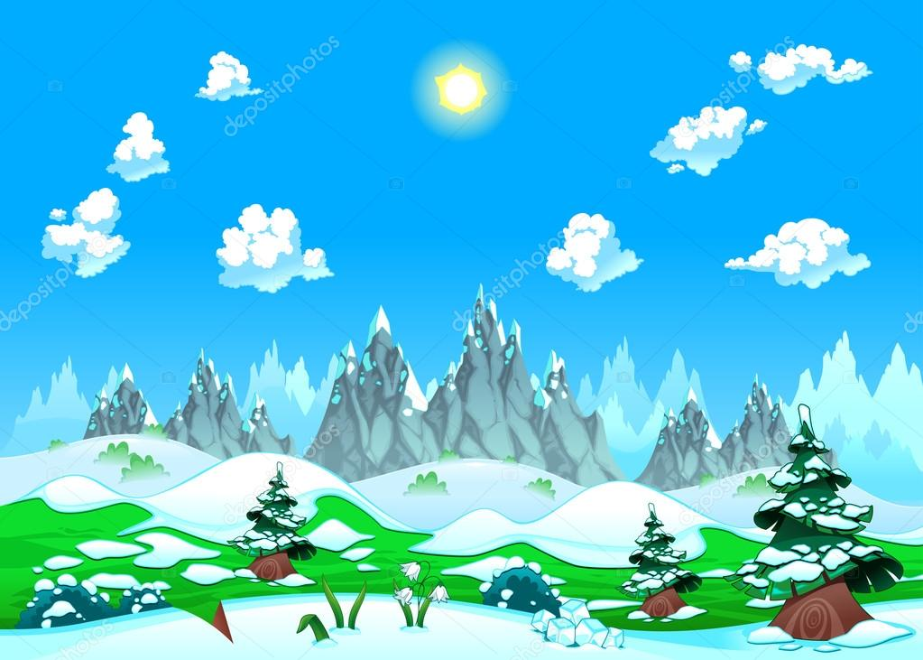 Landscape with snow and mountains.