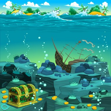 Seascape with treasure and galleon.