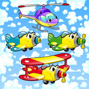 Cartoon airplanes and helicopter in the sky.