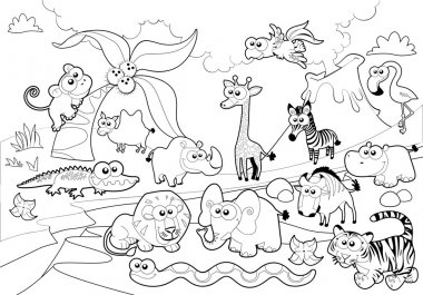 Savannah animal family with background in black and white.