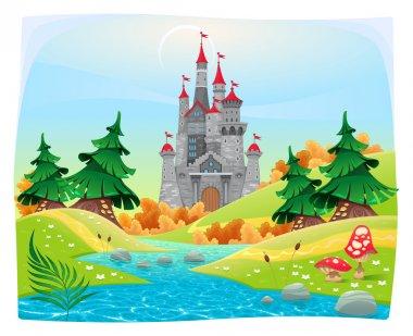 Mythological landscape with medieval castle.