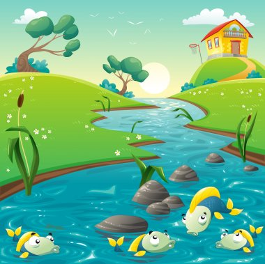 Landscape with river and funny fish.
