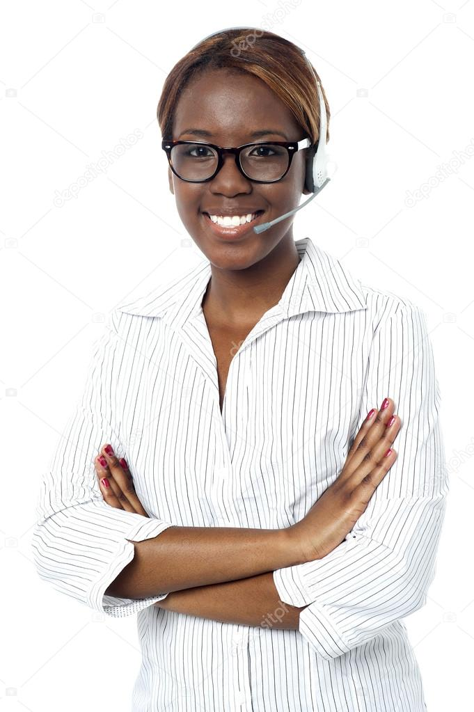 Confident operator lady smiling, wearing headset