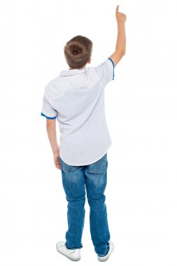 Rear view of a school boy pointing upwards