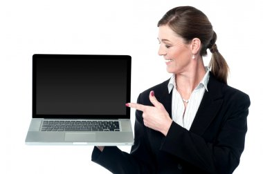Female sales executive presenting new laptop