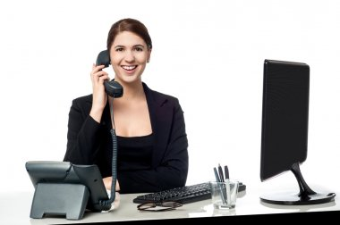 Female secretary answering phone call