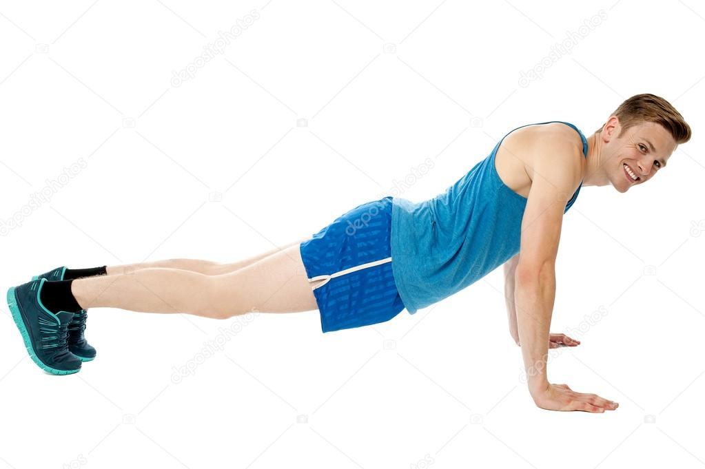 man doing push ups exercise in gym stock photo stockyimages 32583439. Black Bedroom Furniture Sets. Home Design Ideas