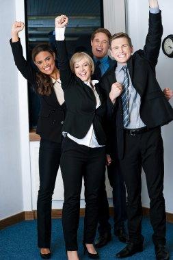 Winners in business, celebrating success