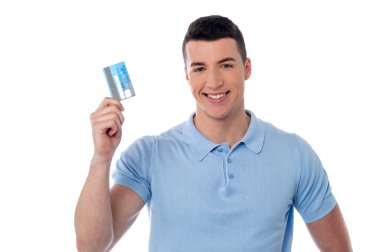 Man showing his credit card