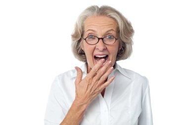 Amazed senior citizen