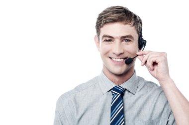 Smiling young call center executive stock vector
