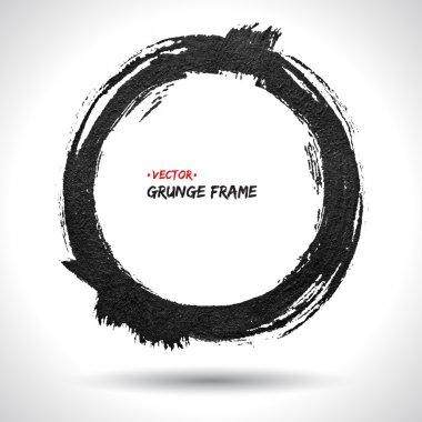 Round grunge vector frame