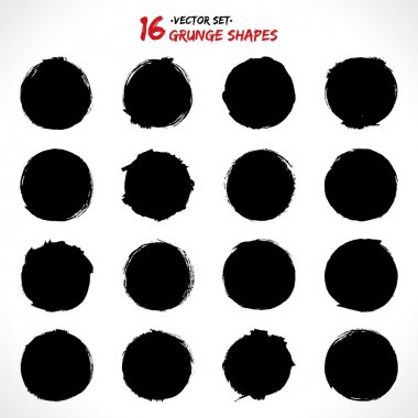 Set of round grunge vector shapes