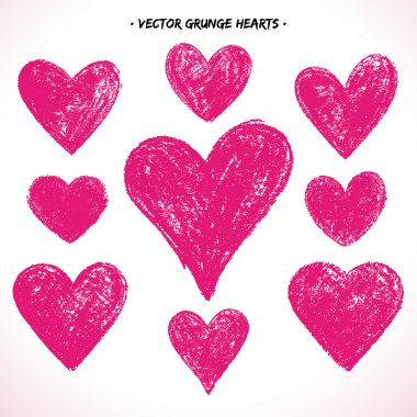 Set of grunge vector hearts. Design elements. Retro background. Vintage background. Valentine background. Abstract background. Hand drawn. Grunge heart. Abstract shape clip art vector