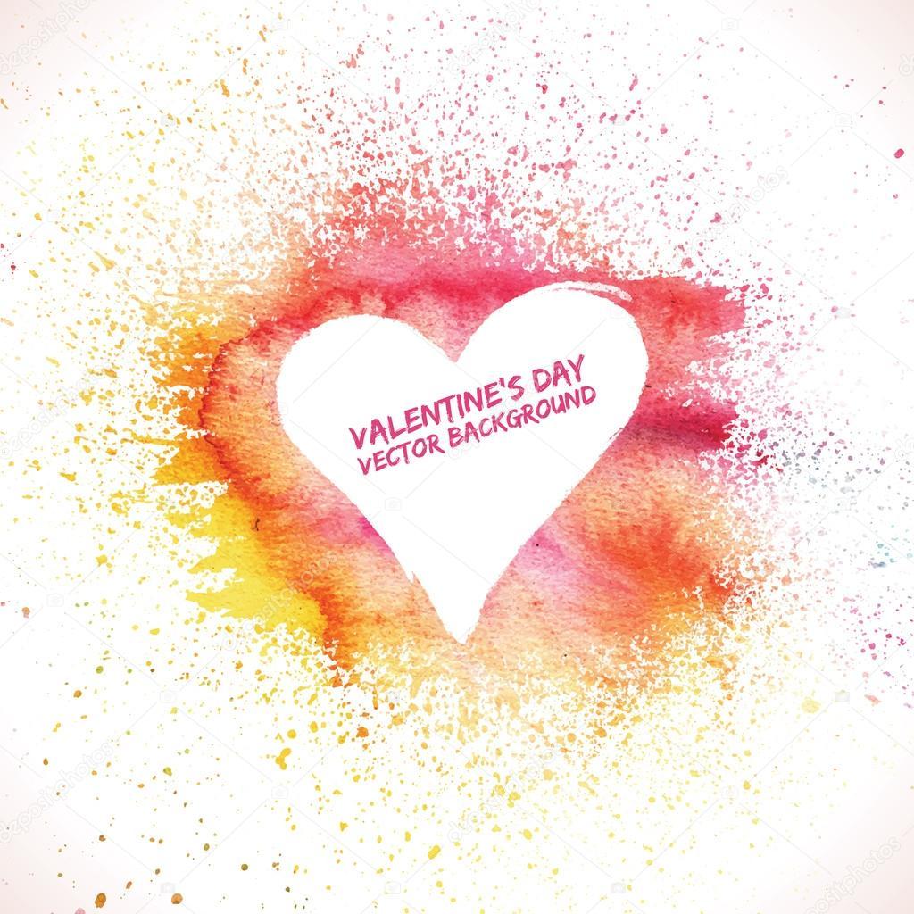 Valentines day background. Grunge background. Watercolor background. Heart background. Valentine poster. Love background clipart vector
