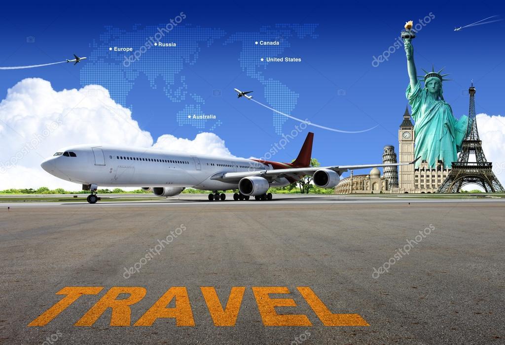 De Wereld Reizen Per Vliegtuig Concept Stockfoto Potowizard