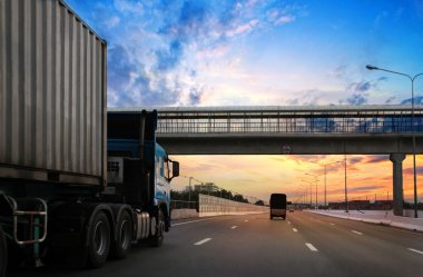 Truck on highway stock vector