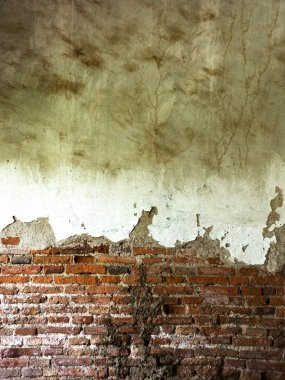 The destruction of a brick wall background