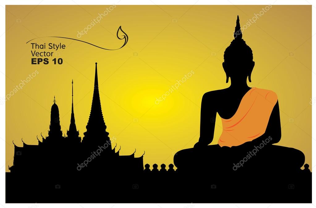 Thai believe, Pay homage to a Buddha image illustration-vector