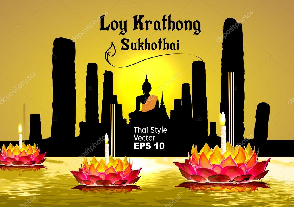 silhouette, Sukhothai loy krathong festival