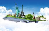 Utazás a világ, repülővel, koncepció