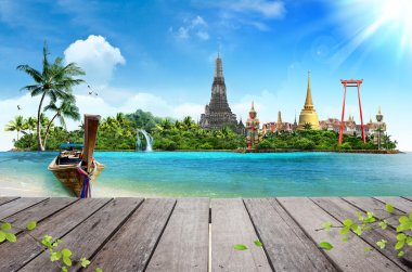 Concept travel Tropical beach, traditional long tail boats and wood planks floor
