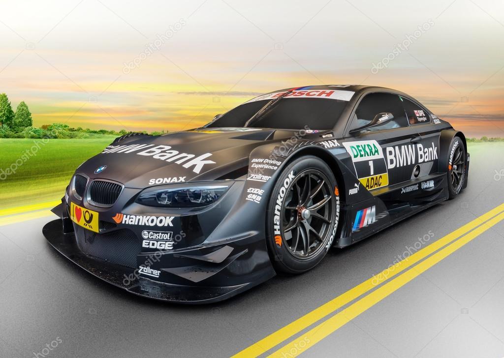Sport car BMW at sunrise, concept