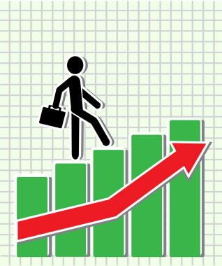Businessman walking on the schedule of the Exchange as the stairs up. clip art vector