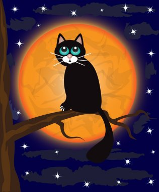 Black cat sitting on a tree branch against a full moon clip art vector