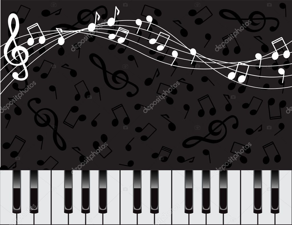 Musical background with keys and notes