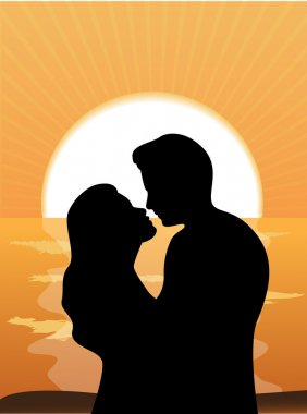 Silhouettes of loving couple at sunset clip art vector