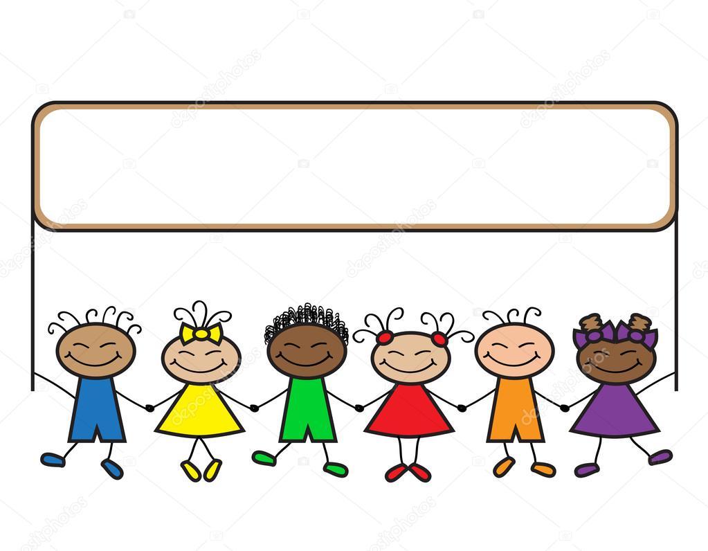 Meninos E Meninas De Nacionalidades Diferentes Childre: Crianças Desenho Animado Com Balões